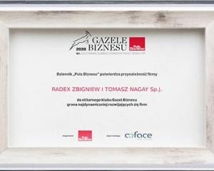 2020 // Zdobycie Nagrody Gazele Biznesu