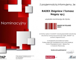 2021 // Nominacja do tytułu Made in Poland 2021